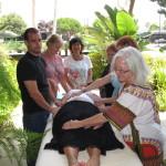 Ariel's students giving a Reiki treatment, circa 2010. Www.arielhubbard.com